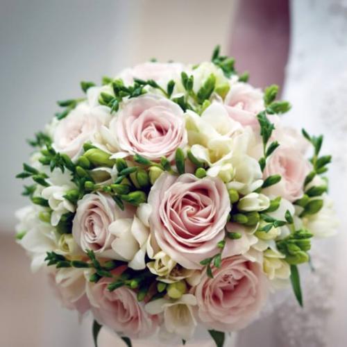 Нежно-розовые розы и фрезии