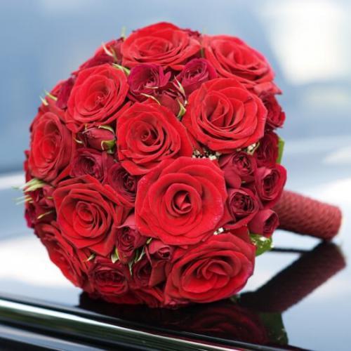 Красные розы и кустовые розы